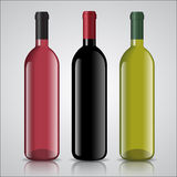 Three bottles of white and red wine with labels Royalty Free Stock Photo