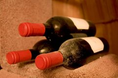 Three bottles of wine Stock Photography