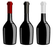 Three bottles of wine  vector Stock Images