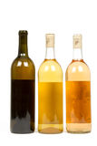Three Bottles of Wine on a White Background. Three Bottles of Wine Isolated on a White Background stock photography