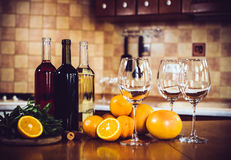 Three bottles of wine Stock Images