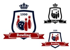 Three bowling badges or emblems Royalty Free Stock Images