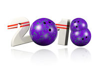 Three Bowling balls 2018 Design. With a white Background Royalty Free Stock Photography