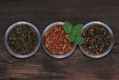 Three bowls with assorted tea leaves Stock Image
