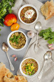 Three bowls of bean, quinoa soup and mushroom bulgur on a gray b Royalty Free Stock Images