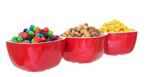 Three bowls of cereal Royalty Free Stock Photos