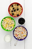 Three bowls of cereal Royalty Free Stock Photography