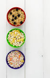 Three bowls of cereals Royalty Free Stock Photography