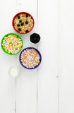 Three bowls of cereals Stock Photos