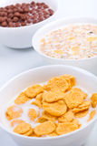 Three bowls of different cereal Royalty Free Stock Image
