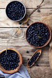 Three bowls with forest blueberry Royalty Free Stock Image