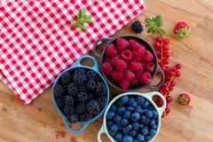Three bowls of fresh berries Royalty Free Stock Image