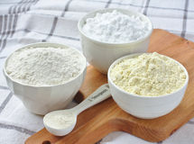 Three bowls with gluten free flour royalty free stock images