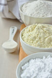 Three bowls with gluten free flour Stock Photography