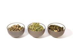 Three bowls of herbal tea. Royalty Free Stock Photo