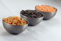 Three bowls of lentil Stock Photo
