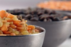Three bowls of lentil Royalty Free Stock Photo