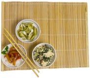 Three bowls on makisu Stock Photography