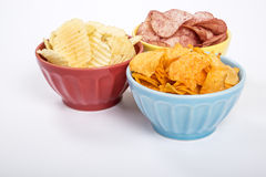 Three Bowls of Potato Chips of Various Flavors #2 Royalty Free Stock Photos