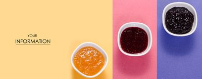 Three bowls with raspberry, orange, blueberry black currant jam pattern. Isolated  background. Top view Royalty Free Stock Images