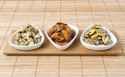 Three bowls of seafood Stock Image