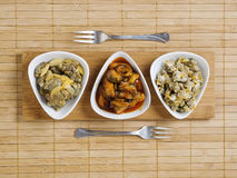 Three bowls of seafood Royalty Free Stock Photo