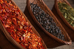 Three bowls with spices Stock Photos