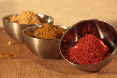 Three bowls of spices Royalty Free Stock Photos