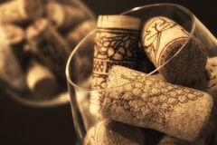Three bowls of wine bottle corks. On the table Stock Photography