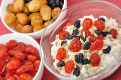 Free Three Bowls With Boiled Rice And Dried Fruit Stock Photos - 13242343