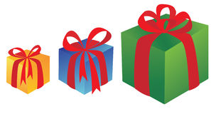 Three box with presents Stock Image