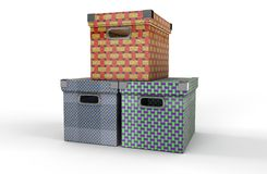 Three boxes Stock Images