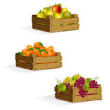 Three boxes of apples, oranges, grapes Stock Photos
