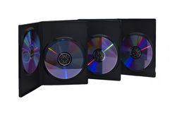 Three boxes with CD disk royalty free stock photography