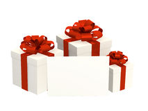 Three boxes with gifts. Fastened by tapes. Object over white Royalty Free Stock Photography