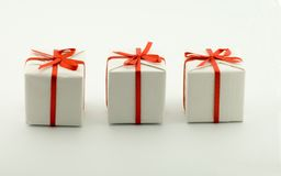 Three boxes with gifts Stock Image