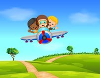 Three boy flying a plane. Illustration of Three boy flying a plane Royalty Free Stock Photos