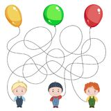 Three boys with balloons. Children`s picture with a riddle. Where is whose ball is?. Three boys with balloons. Children`s picture with a riddle. Find where is Royalty Free Stock Photo
