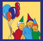 Three boys with balloons laugh Royalty Free Stock Image