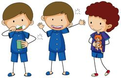 Three boys in blue pajamas. Illustration Royalty Free Stock Images
