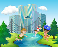 Three boys diving in the river Royalty Free Stock Photo