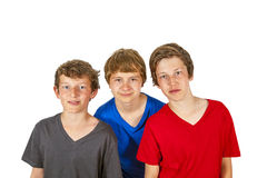 Three boys and friends stick together Royalty Free Stock Photography