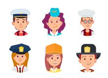 Concept of Six Children in Different Professions. Three boys in image of sailor, chief food and firefighter. Trio girls in similitude of stewardess, policeman Stock Image