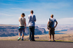 Three Boys Overlooking The Gorge Ampitheater Stock Photo