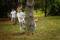 Three boys peeking around trees. Three boys play hide and seek peekaboo around some pine trees stock images