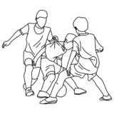 Three boys playing football vector illustration sketch doodle hand drawn with black lines isolated on white background.  stock illustration