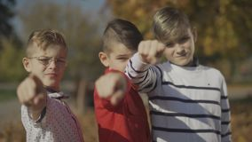 Three boys pointing fingers at the camera. Brothers spend time together outdoors. Focus moves from the foreground to the stock video footage