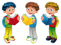 Three boys are reading. Vector illustration Royalty Free Stock Photography