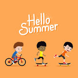 Three boys riding skateboards and a bike. Cute cartoon Hello Summer illustration Royalty Free Stock Images