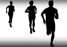 Three boys running Stock Images